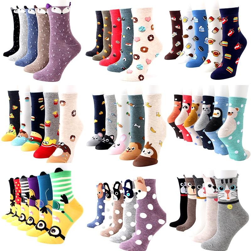 5 пар/лот, женские носки с героями мультфильмов, хлопчатобумажные забавные носки с изображением животных и фруктов, милые теплые носки с кра...