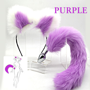 цена на Tail anal plug Metal Butt Plug Sexy Fox Tail Set With Hairpin 6 Colors Anal Butplug Tail BDSM Animal Tail For Women Men Couple