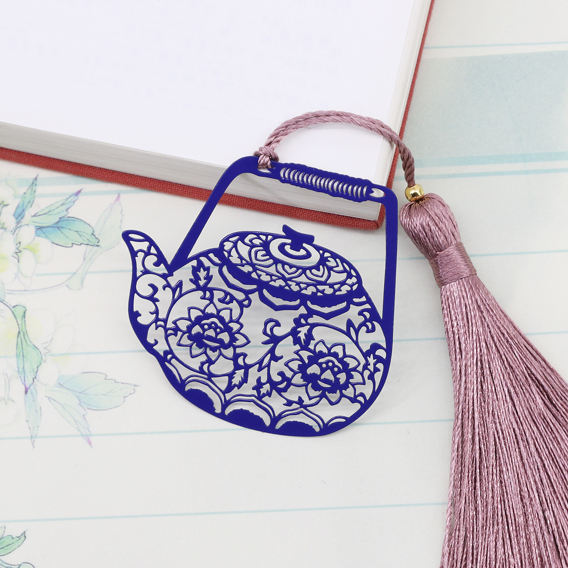 Gift Metal Bookmarks Cute Teapot Book Page Marker Chinese Style Retro Fine Metal Bookmarks Student And School Stationery