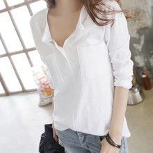 Womens Chiffon Blouse Elegant Office Work Wear V Neck Shirts Pockets Tops Long  Sleeve 7.31