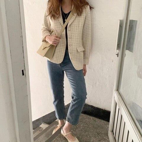 European Style Autumn Winter short Tweed Jacket Coat Women 2019 Elegant Slim Long Sleeve Female Runway Woolen Jacket Lahore