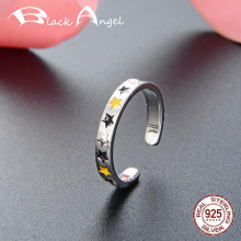 Fashion 925 Sterling Silver Stars Open Ring for Women Fine Jewelry Adjustable Finger Rings