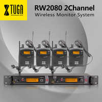 XTUGA RW2080 Wireless Monitor System of stage UHF In Ear Headphones & Ear 4 Receivers sound Professional Microphones