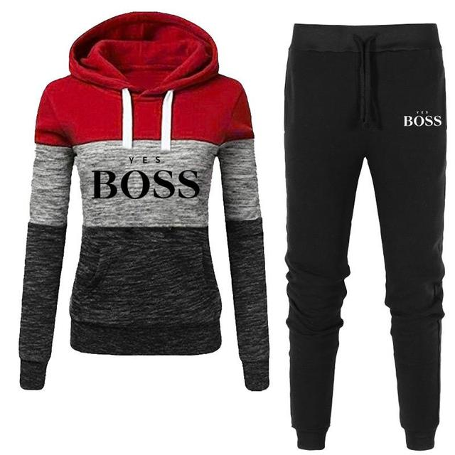 2021 Autumn Winter Hot Brand  Two Pieces Sets Thick Hoodies Tracksuit Women Sportswear Gyms Fitness Training Sweatshirts 4