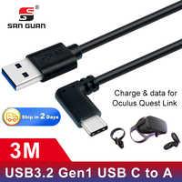 Rechten Winkel ellenbogen 5meter USB Typ-C zu EINEM Kabel 3m für VR Oculus Quest Headset ladung daten USB 3,2 Gen 1 für Oculus Rift VR Link