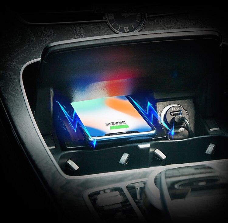 Для Mercedes Benz c class GLC W205 2015 2016 2017 2018 2019 автомобильные аксессуары, специальная Бортовая Беспроводная зарядная панель QI для телефона