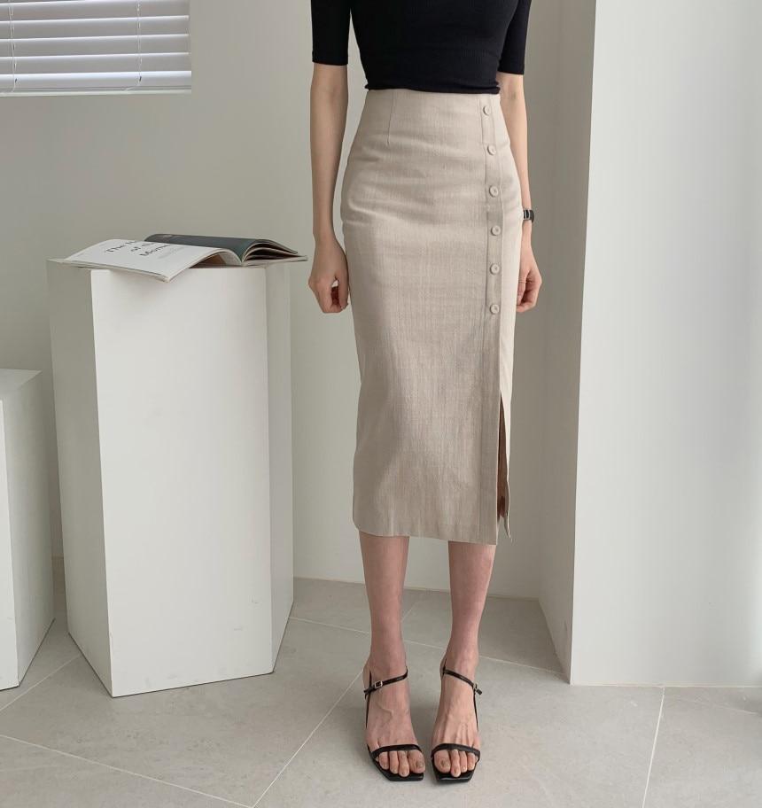 Elegant Office Lady Spring Summer Slim Skirt Women Bodycon High Waist Skinny Female Midi Skirts
