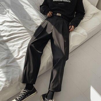 2020 Men's Loose Leisure Grey Formal Suit Pants Business Design Cotton Western-style Trousers Male Black Casual Pants Size M-2XL
