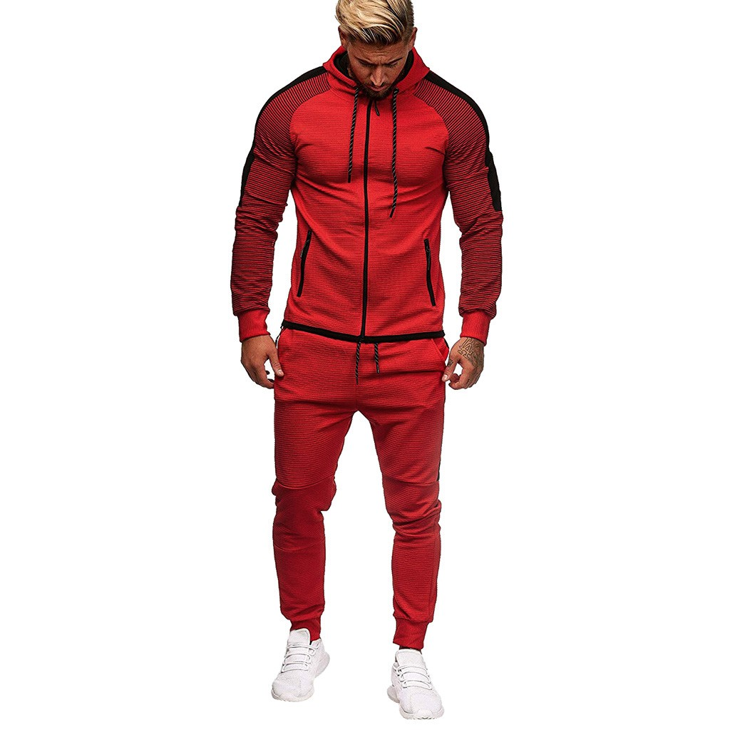 2019 Sports Suit Men's Sports Suit Loose Sportswear Men's Spring Autumn Fitness Warm Running Hoodies And Long Pants Tracksuit