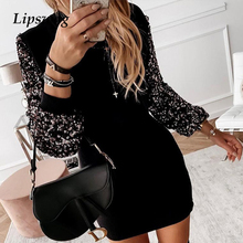 Women Casual Turtleneck Button Mini Dress 2019 Autumn Winter Long Sleeve Party