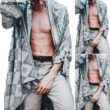 INCERUN Men Vintage Ethnic Print Baggy Trench Coats Casual Thin Long Cardigan Windbreaker High Street Mens Cloak Size S-5XL(China)