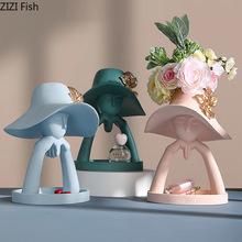 Twórczy żywica portret rzeźba wazony ludzka głowa popiersie dekoracja na stolik do salonu nowoczesny luksusowy wazony rodzinne Home Decor tanie tanio Ludzi Europa Ceramiczne i emaliowane