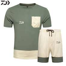 Men Daiwa Fishing Clothes Set Outdoors Quick Drying Breathable Outdoor Sport Wear Short Sleeve Fishing Shirt Fishing Shorts Suit fishing suit summer fishing sunscreen men breathable quick drying fishing clothes mosquito clothes