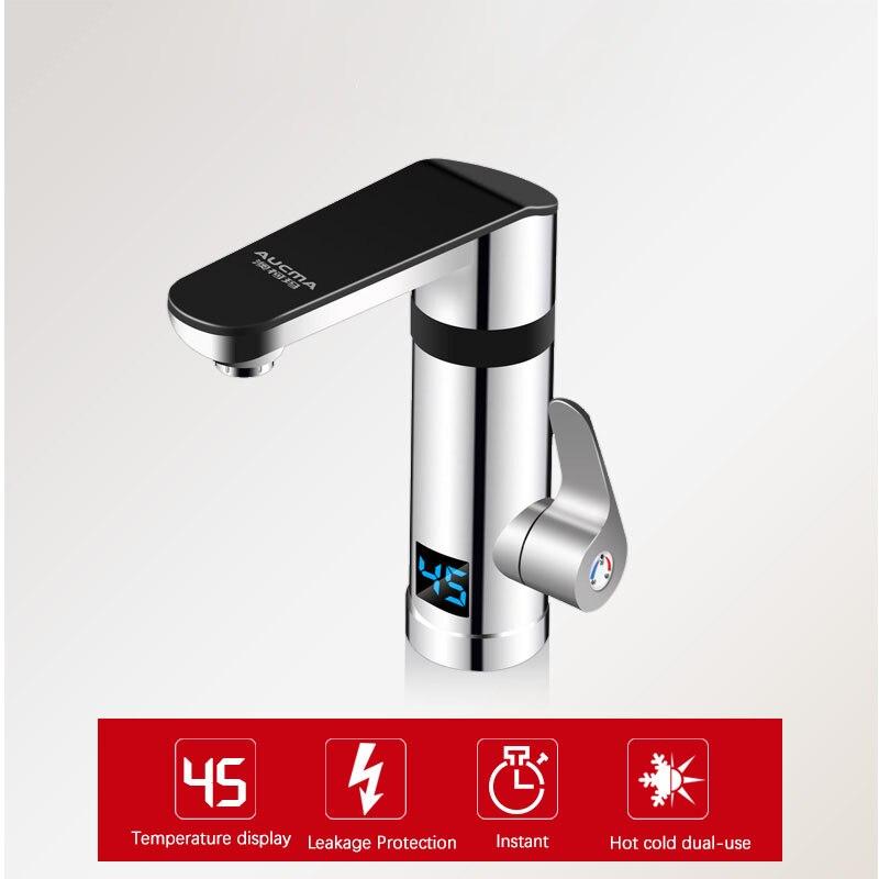 Kbxstart 220V robinet d'eau chaude électrique instantané 3 secondes chauffage rapide robinet d'affichage de la température chaude et froide pas de réservoir d'eau - 4