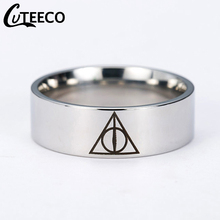 Cuteeco Hot Sale Movie Deathly Hallows Silver Titanium Stainless Steel Ring For Men Women Senhor Dos Aneis