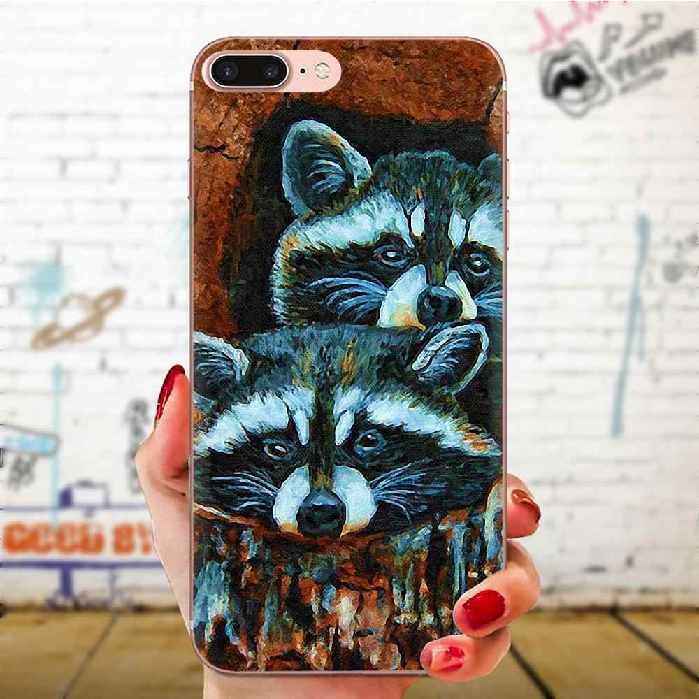 Animal Raccoon Art Coque Soft Shell Cases For Apple iPhone 11 Pro X XS Max XR 4 4S 5 5C 5S SE 6 6S 7 8 Plus