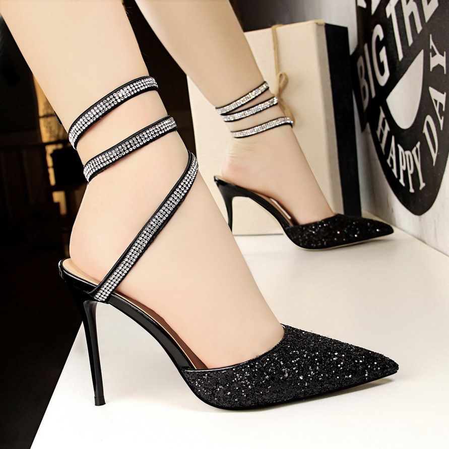 New Fashion Women Bling Summer shoes Sandals Heel Pumps Comfortable Sexy Non-slip Sequin Pointed Toe lady 10cm Shoes 635