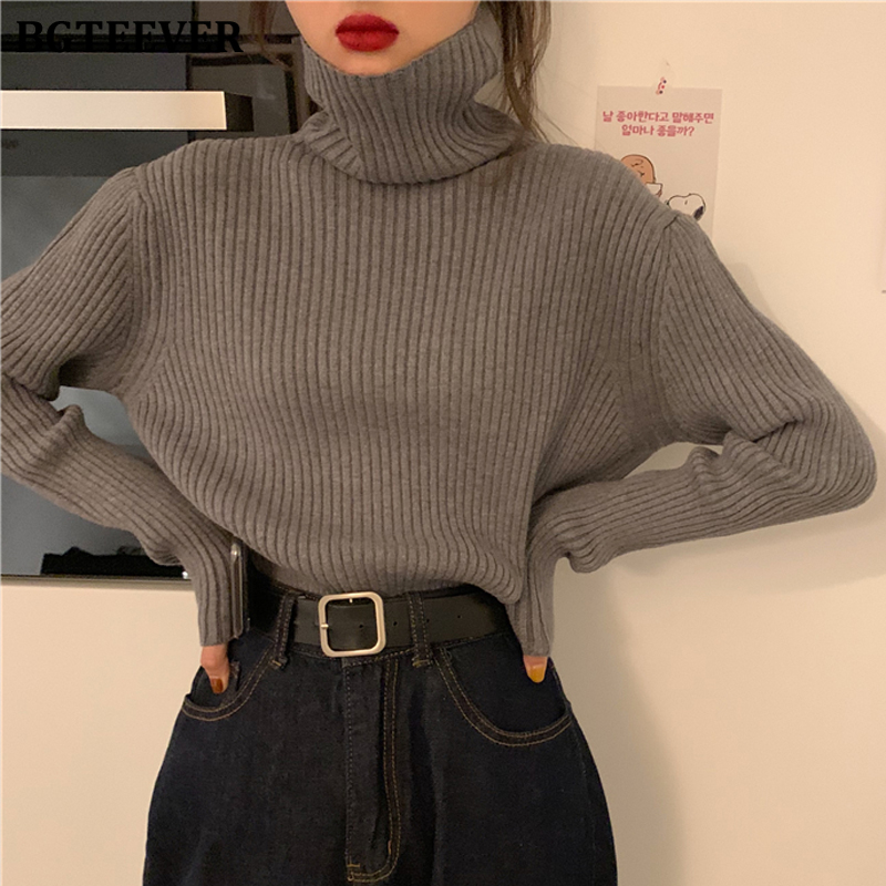 BGTEEVER All-match Thicken Autumn Winter Sweater For Women 2020 Turtleneck Vertical Stripes Solid Knitted Pullover Jumpers Femme
