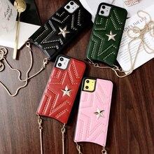 Nuovo cuoio dellunità di elaborazione con borchie Pentagram Fhx 11K cassa del telefono con catena in metallo per 7 8Plus X XS MAX XR disponibile per iPhone 11Pro MAX