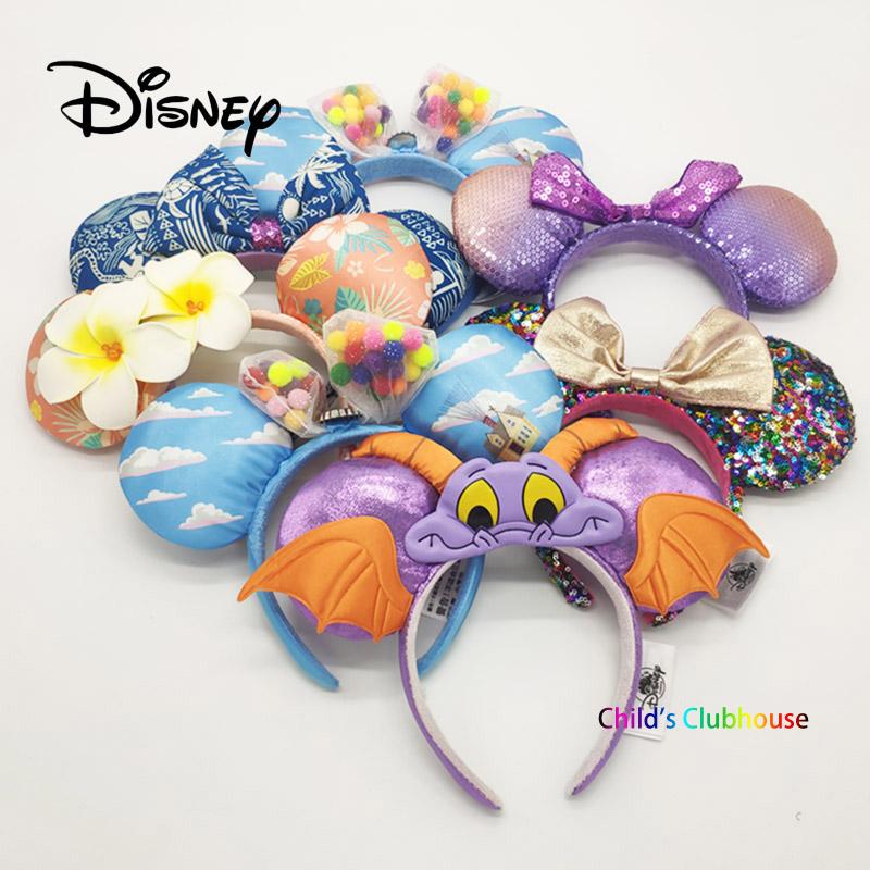 Disney Up Mickey Ears Accessories Cartoon Headdress Hair Accessories Kawaii Plush Toy Birthday Gift For Girls Headband Toys