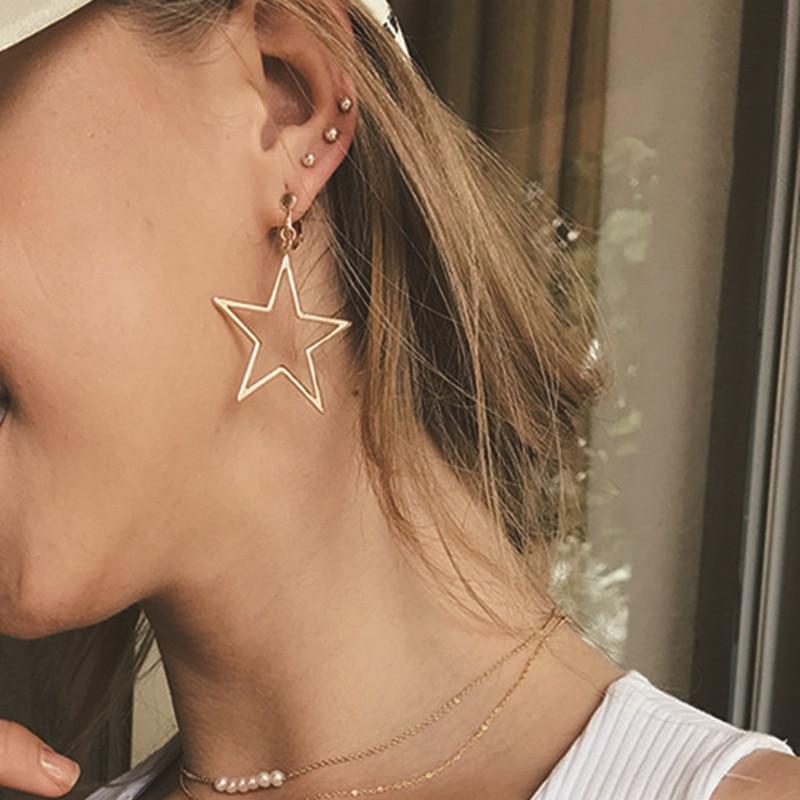 Корейские модные золотые серебряные большие полые серьги-подвески в форме звезды для женщин и девушек, простые массивные длинные висячие с...