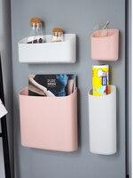 가정용 마그네틱 냉장고 스토리지 박스 주방 액세서리 주최자 벽 선반 교수형 마무리 상자