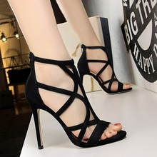 Rome Style Thin Heeled Ultra-High-Heel Suede Hollow out Sexy Nightclub Cool Shoes Summer High-Heel Shoes 83121-1 mature temptation mysterious sexy fashion ultra high documentary shoes black roman style hollow out super high heels