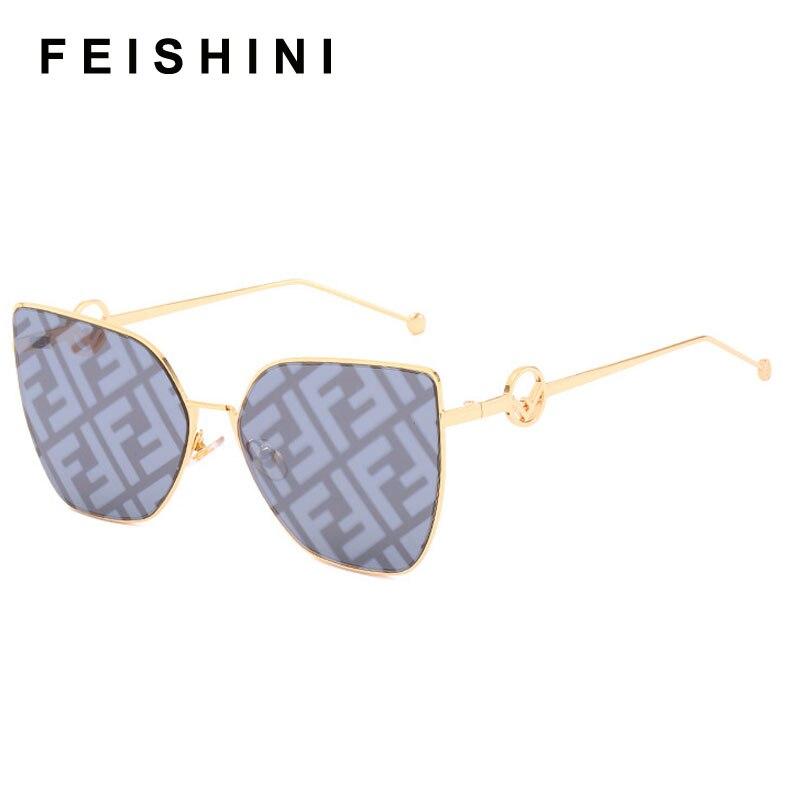 FEISHINI Trimming Mirror Metal Frame Cat Eye Sunglasses Ladies 2020 Fashion Trendy Womens Sun Glasses UV Protector Gradient Grey