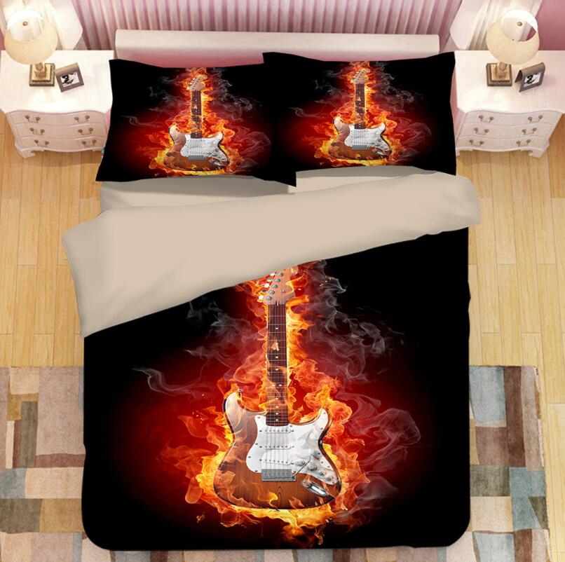 3D Rock <font><b>guitar</b></font> Print Bedding Set Duvet Covers Pillowcases One Piece Comforter Bedding Sets Bedclothes Bed Linen 03 image
