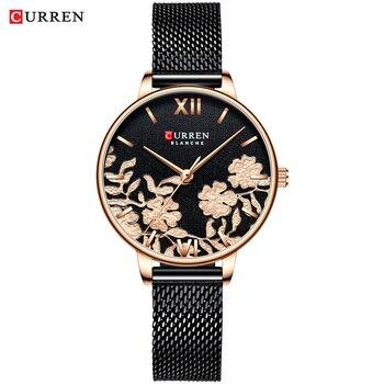 CURREN Women Watches Top Brand Luxury Stainless Steel Strap Wristwatch for Women Rose Clock Stylish Quartz Ladies Watch 15
