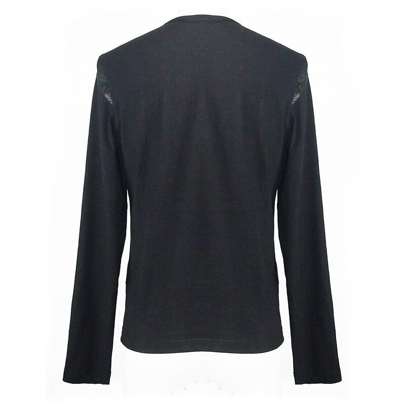 Devil Fashion Men Tops Hot Sale Rock Punk Buckle Mesh Long Sleeve T Shirt Men Vest - 6
