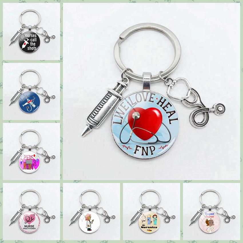 Medical Syringe Stethoscope Keychain Doctor Tool Pendant Nurse Doctor Gift Round Glass Pendant Keychain Accessories