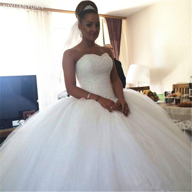 Crystal Beaded Wedding Dresses New Luxury Designer Sweetheart Tulle Puffy Ball Gown Lace Up Bridal Gowns 2020 Wedding Gowns