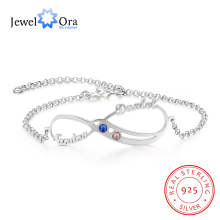 Personalized 2 Names Infinity Bracelets for Women Custom Birthstone Adjustable Couple Lovers (JewelOra BA102550)