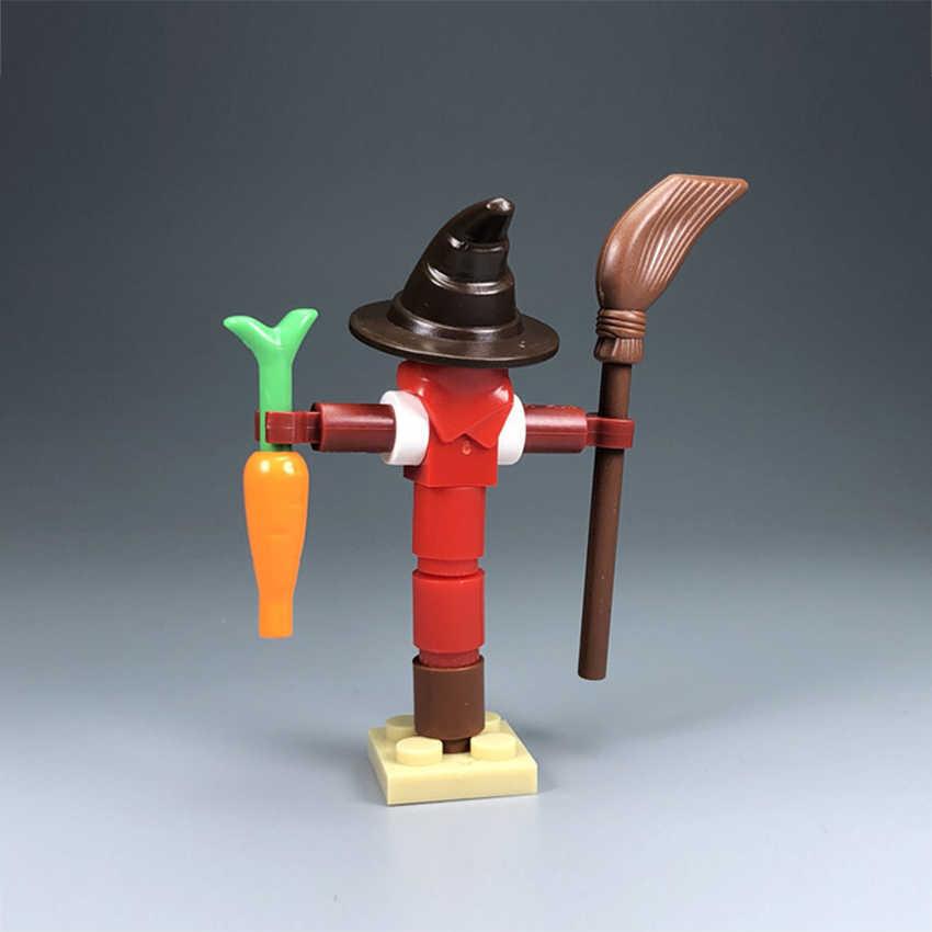 Đĩa Đơn Nông Trại Khối Xây Bù Nhìn Halloween Cảnh Mộc Phụ Kiện Gạch Trẻ Em DIY Bộ Đồ Chơi Quà Tặng