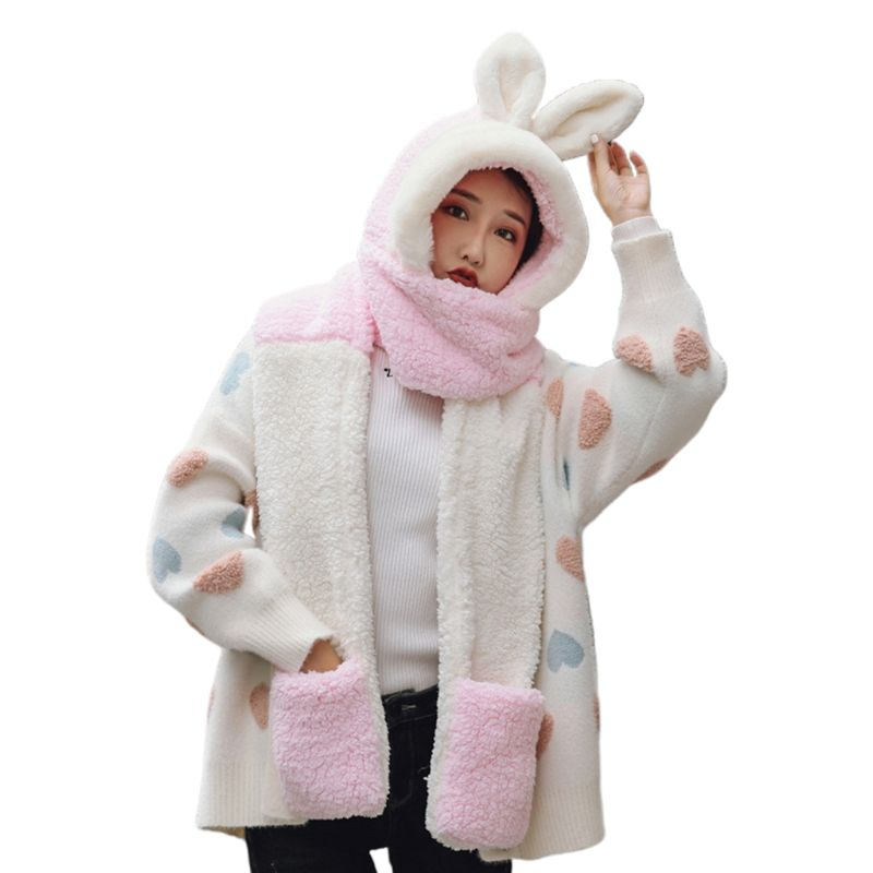 2019 Girls 3 In 1 Hat Gloves Scarf Stitching Color Adorable Rabbit Ear Hoodie Earflap