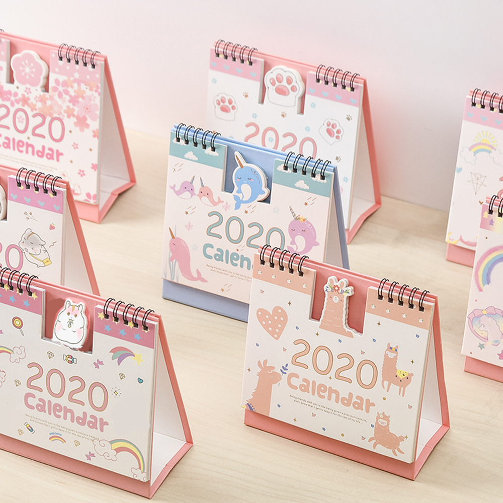 2020 Lovely Cartoon Hamster Cherry Blossoms Coil Calendar Mini Portable Desk Calendars Daily Schedule Planner 2019.09-2020.12