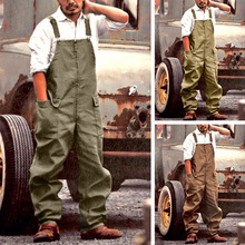 Mens Clothing Pockets Mid-Waist Lugentolo Plus-Size Casual Full-Length Overalls Loose