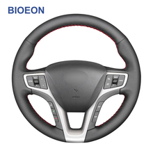 Steering-Wheel-Covers Artificial Leather Hyundai I40 Black Hand-Stitch PU