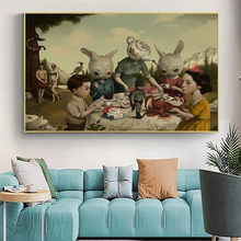 Fantastic Teapot Head And Rabbits Dine Together Canvas Art Painting Posters And Prints Wall Art Picture For Kid Room Decor