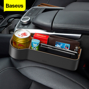 Baseus Car Seat Gap Organizer Leather Auto Seat Crevice Filler Storage Box For Card Cup Car Accessories Pocket Holder Organiser