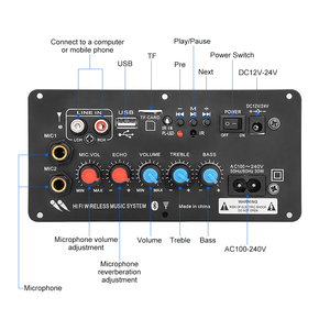 Image 2 - Aiyima Subwoofer Digitale Bluetooth Versterker Boord Dual Microfoon Karaoke Versterker Reverb 12V 24V 220V Voor 8 12 Inch Speaker