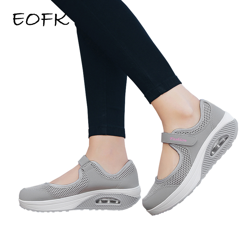 EOFK Summer Women Flat Shoes Air Mesh Casual Sneakers Women's Flats Ladies Mary Janes Comfortable Female Hoop Loop Shoes Woman