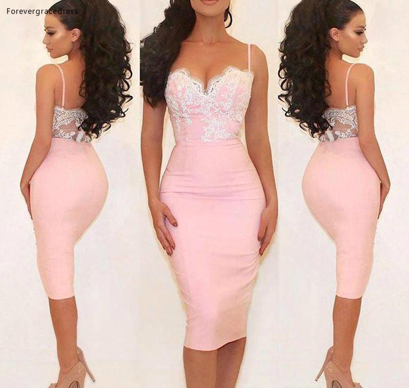 2019 Cheap Tea Length Lace Cocktail Dress Spaghetti Straps Short Semi Club Wear Homecoming Party Gown Plus Size Custom Make