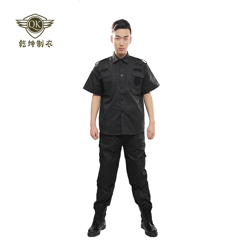 Black And White With Pattern Anti-static Summer Half Sleeve Security Service Secret Service Combat Training Clothes Security And
