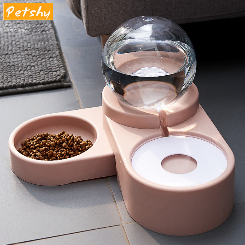 Petshy Adjustable Dog Cat Double Bowls Drinking Bubble Automatic Pet Food Water Feeder Puppy Cat Water Fountain Dog Dispenser