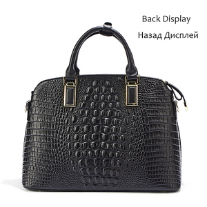 Image 4 - Bolso pequeño de piel de cocodrilo para mujer 2019 Qiwang bolso de mano de lujo de diseñador para mujer 100% bolsos de hombro de piel auténtica para mujer