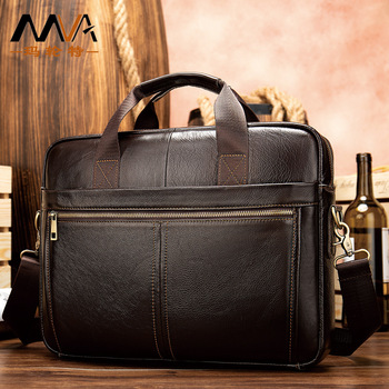 """Vintage Business Men Soft Computer Laptops 14"""" Briefcases Genuine Leather Zipper Solid Soft Handle Handbags  Document Gifts New"""