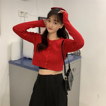 Ailegogo New 2020 Women's Sweaters Autumn Winter Solid Fashionable Buttons Casual Short Cropped Cardigans Knitwear SWC1121 6