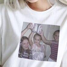 Футболка с надписью My Depression My Brain My тревога, модная футболка Harajuku, новая летняя женская забавная одежда